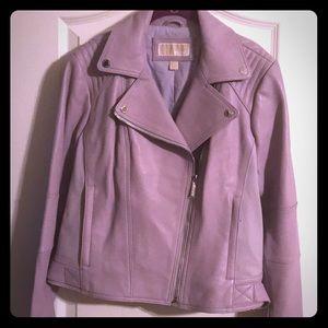 Purple Leather Michael Kors Jacket